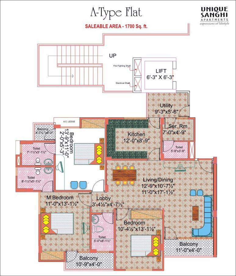 Unique Sanghi Apartments - Floor Plan
