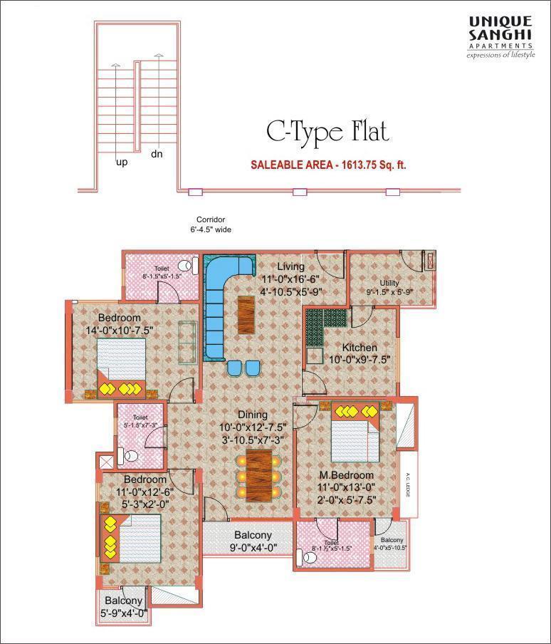 Unique Sanghi Apartments - Floor Plan