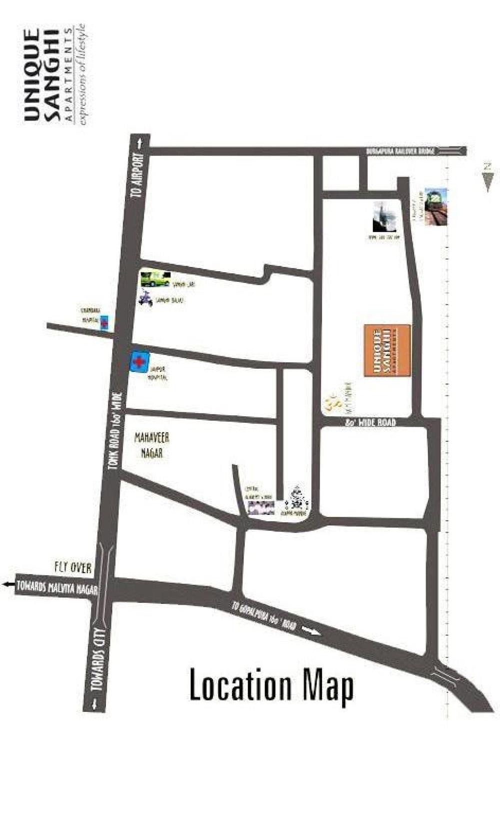Unique Sanghi Apartments - Location Map
