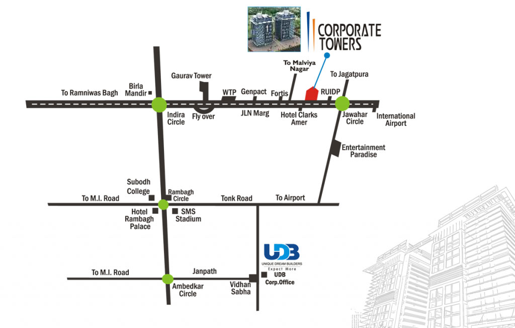UDB Corporate Tower - Location Map